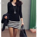 Hot sale ! 2013 new Korean fashion ladies Cotton large size Slim striped dress Black +White Three size