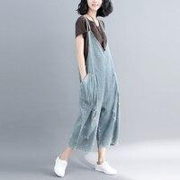 Women Denim Jumpsuits 2019 Harajuku Bleached Ripped Wide Leg Bib Denim Overalls Big Size Drop Crotch Rompers Wide Leg Pants
