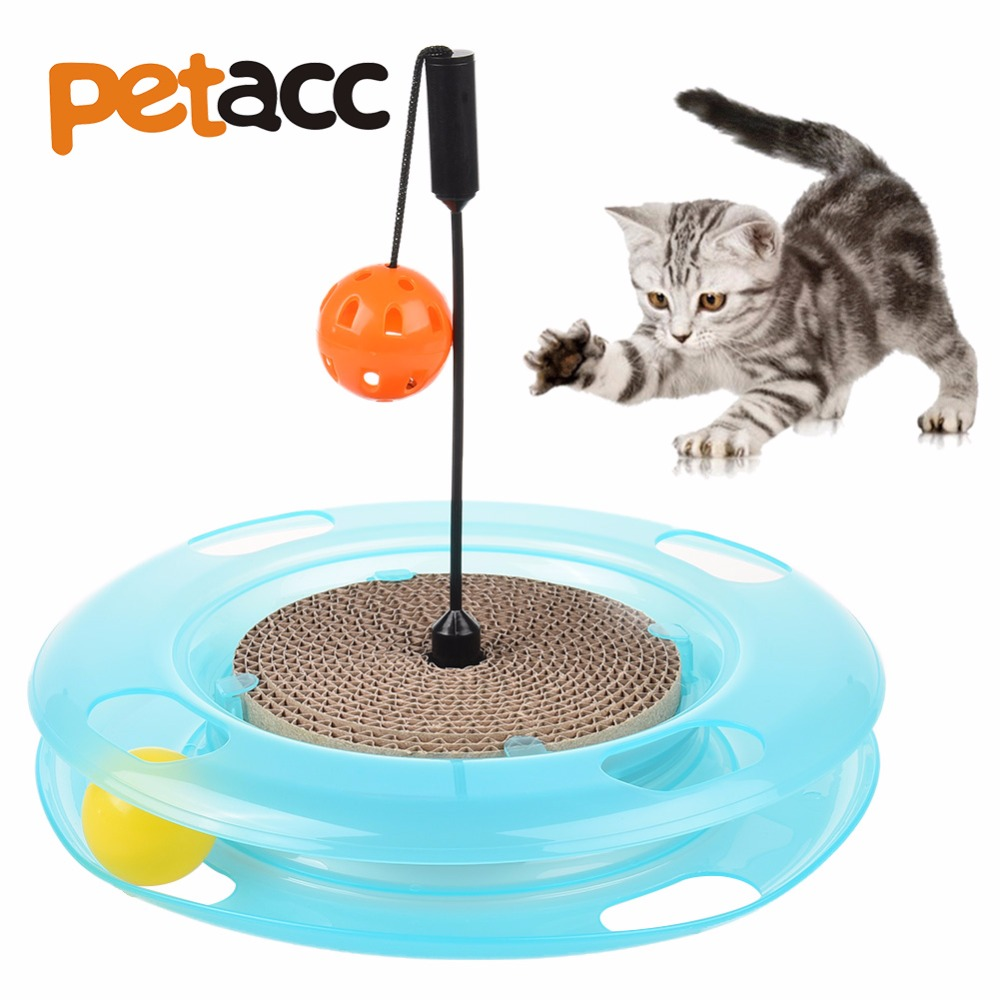 Petacc Top Quality Funny Cat Pet Toy Cat Amusement Toy+Hanging Ball and Track Ball Intelligence Cat Toy Balls