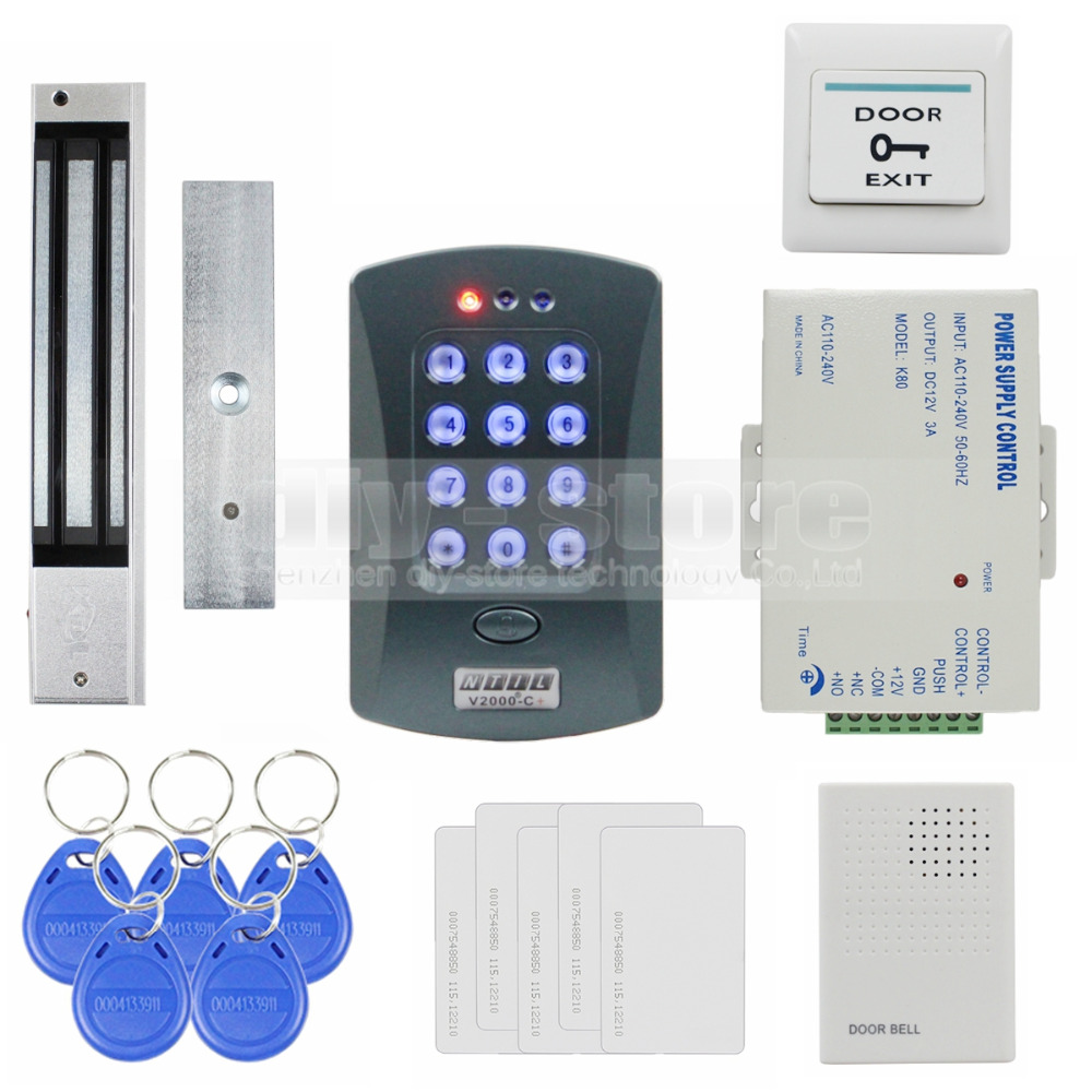 DIYSECUR 280kg Magnetic Lock ID Card Reader Password Keypad Access Control System Security Kit + Door Bell V2000-C diysecur tcp ip usb fingerprint id card reader password keypad door access control system power supply 280kg magnetic lock