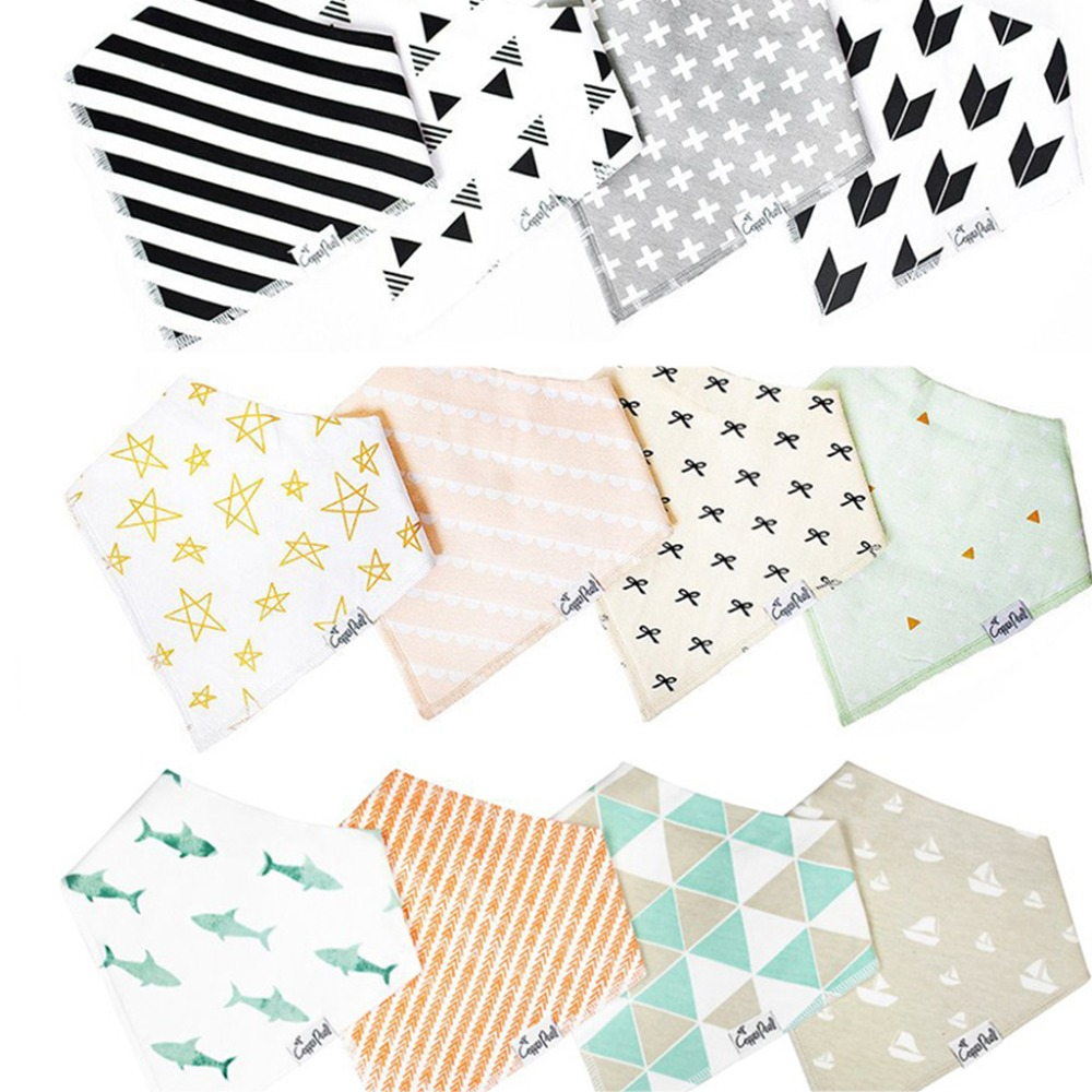 New 4Pcs Kids Baby Bibs For Boy&Girl Burp Cloths Waterproof Dribble Bibs Bandanas Gifts
