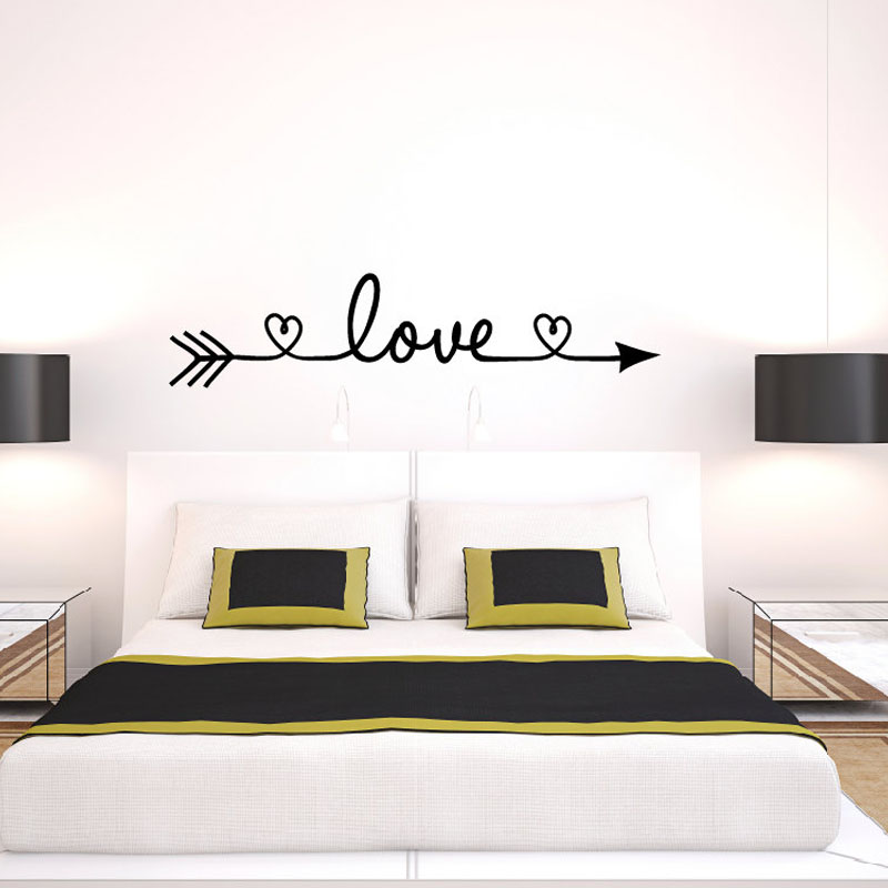 New design love arrow wall decals vinyl removable bedroom for Bedroom wall decals