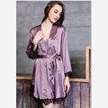 Искусственного шелка ночная рубашка и халат комплект женщин ночное атласа одежда из искусственного шелка халат женщины пижамы и ночнушку