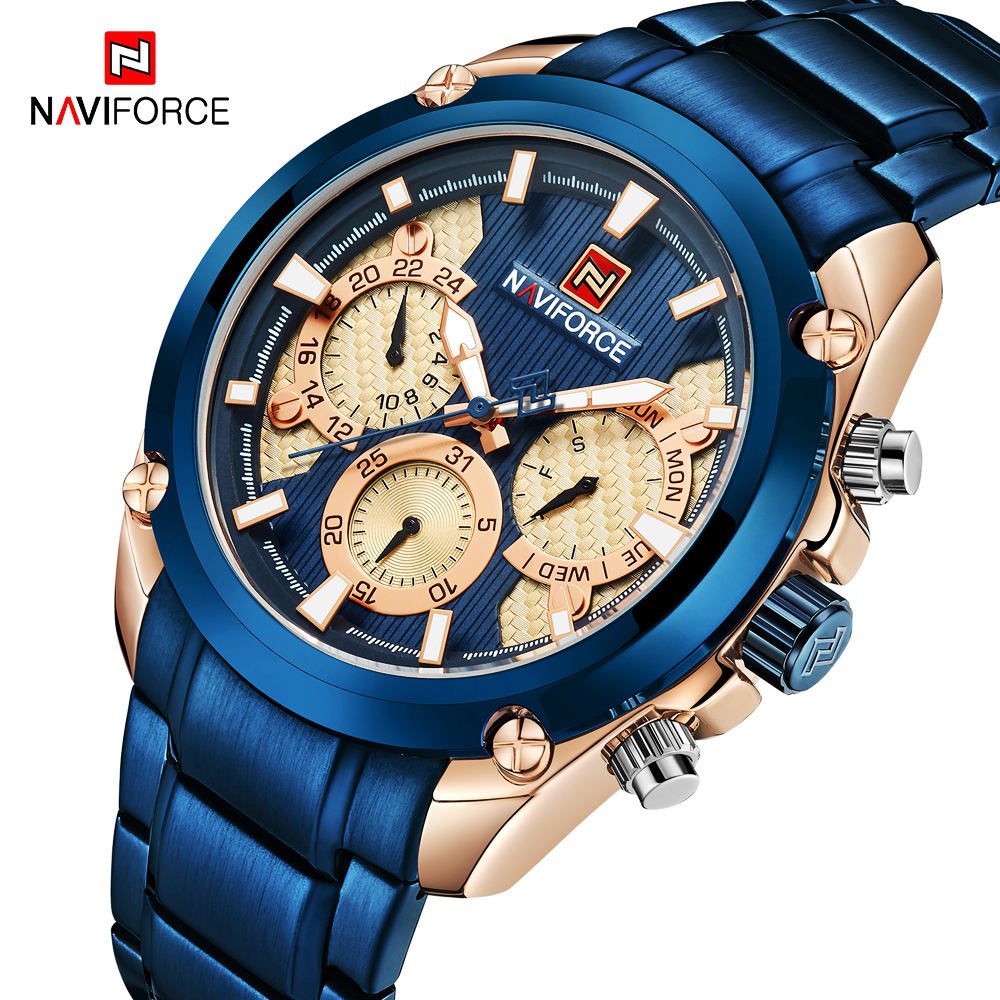 <font><b>NAVIFORCE</b></font> 2019 Fashion Blue Watch Men Sport Quartz Clock Full Steel Chronograph Watch Waterproof Military Date Mens Wrist Watch image