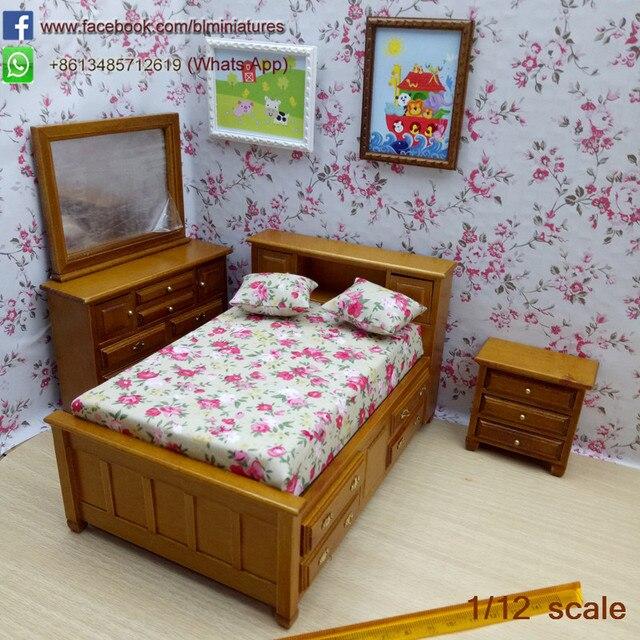 1/12 Juego De Dormitorio De Madera Muebles de casa de Muñecas En ...
