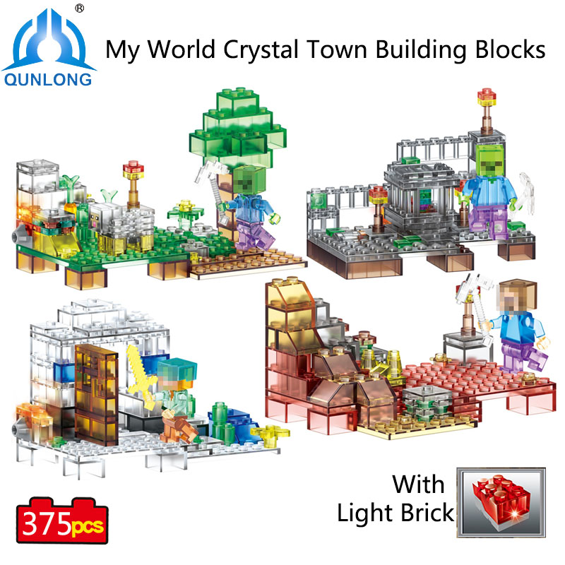 375pcs 4 in 1 Crystal Light Toy Town My World Building Blocks Compatible Lego Minecraft City duplo Building Blocks Education Toy декорации lego education 9385 4