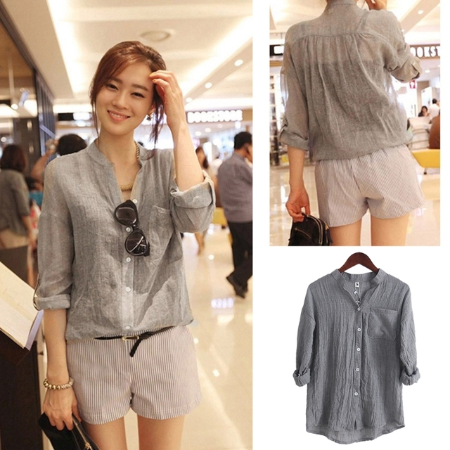 19383cd8 KLV Chemisier Women Tops Fashion Autumn Linen Shirt Long Sleeve Blouse  Korean Style