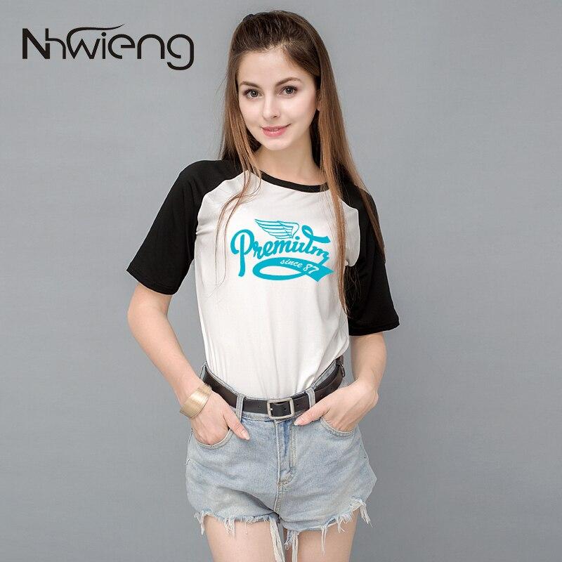Jmmyck Store 2017 High Quality Summer Women Blouses mujer Camiseta Short raglan Sleeve Patchwork Letter Number PrinBlouses Tops for Female