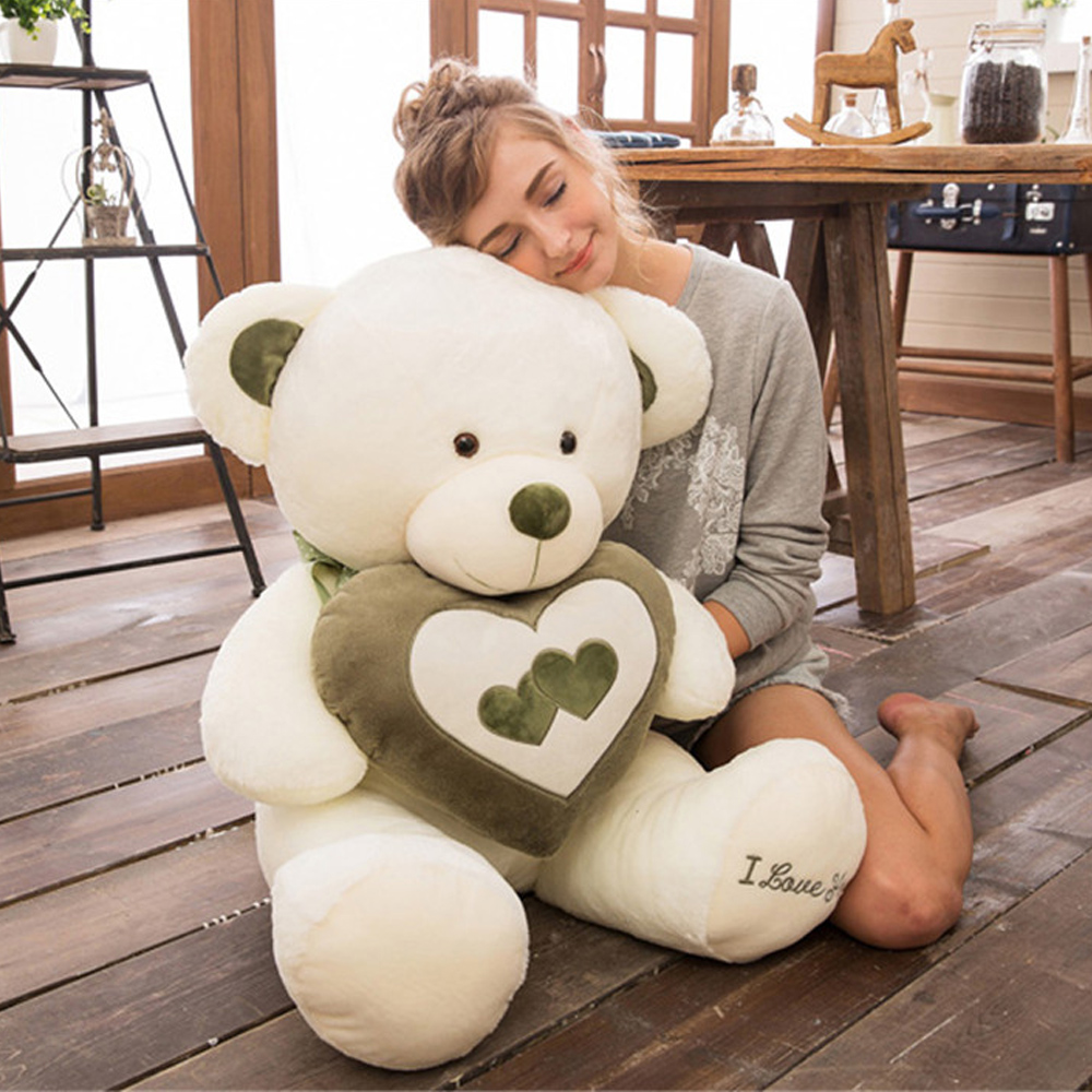 Fancytrader Pop Love Bears Plush Toy Big Huge Soft Holding Heart Teddy Bear Doll 70cm 28inch for Girls Gifts fancytrader big giant plush bear 160cm soft cotton stuffed teddy bears toys best gifts for children