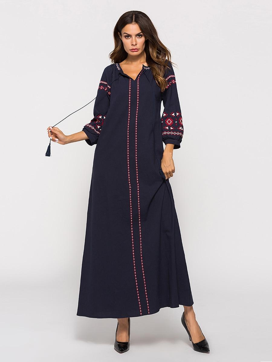 e102177258 Women Long Sleeve Muslim Turkish Middle East Dubai Embroidery Tassel Cotton  Linen Dress Abaya Islamic Abaya Long Dress FW61-in Islamic Clothing from  Novelty ...