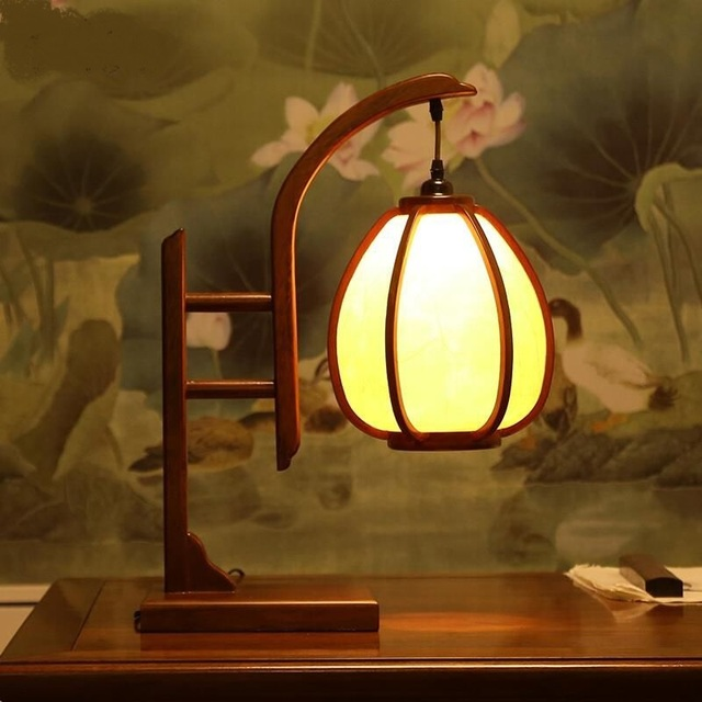 Chinese Style Wooden Table Lamp Antique Wood Living Room Clical Study Warm Bedroom Bedside