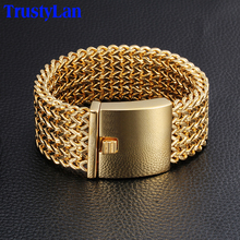 TrustyLan 30MM Wide 22CM Length Mens Bracelet Never Fade Gold Color Thick Stainless Steel Bracelet Men Bangles Jewelry Armband