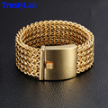TrustyLan 30MM Wide 23CM Length Mens Bracelet Never Fade Gold Plated Stainless Steel Bracelets Bangles Biker Jewelry Wristband