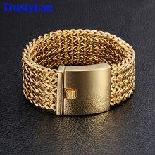 TrustyLan 30MM szerokości 22CM długość męska bransoletka nigdy nie znikną złoty kolor ze stali nierdzewnej o grubości bransoletka bransoletki męskie typu bangle biżuteria opaska na ramię