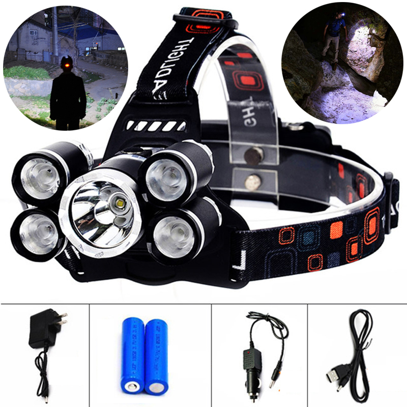 E 13000LM High Power Headlight LED Headlamp CREE XM-L T6 4 Q5 5 Chip Head Lamp Flashlight Torch Lanterna Head Light for Hunting