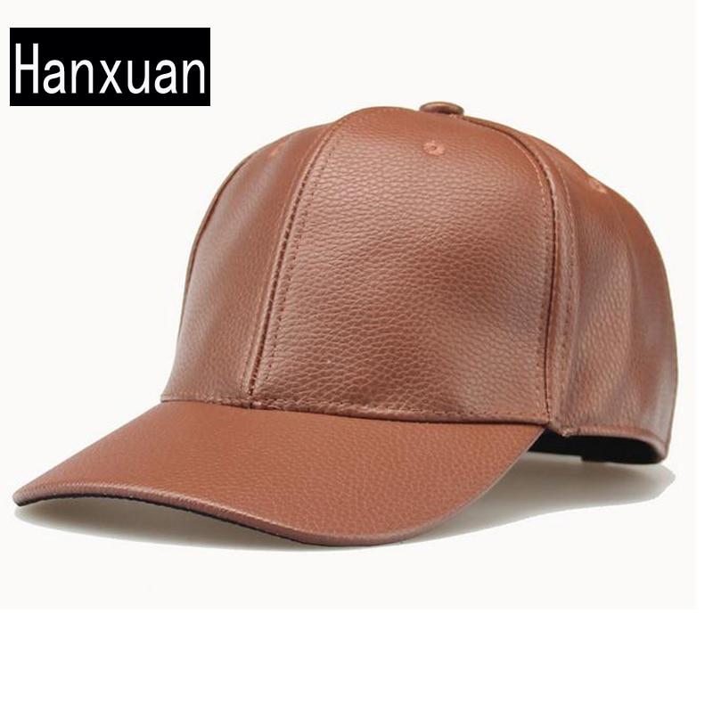 Prix pour Hanxuan Chaude Mode Hommes PU En Cuir Cap Solide Couleur Faux Cuir Noir Casquettes de Baseball Soleil D'été-ombrage hiphop Occasionnel