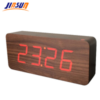 JINSUN New Arrival Hot Sales Modern Square Colorful Wooden Bamboo Digital Single Face Thermometer Led Alarm Clock KSW108