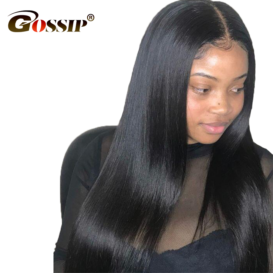 Gossip Full Lace Human Hair Wigs With Baby Hair Brazilian Straight Hair Glueless Wigs For Black Women Pre Plucked Non Remy Wig