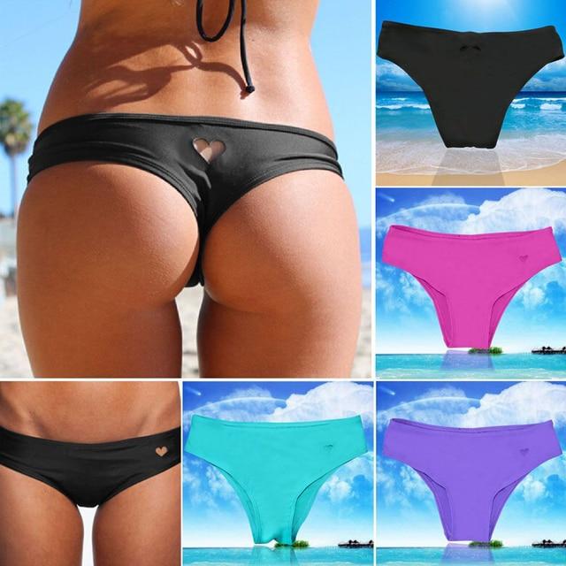 7e556b5a1197bc Gorące mikro stringi dół od bikini tułów majtki stringi stroje kąpielowe  brazylijskie serce T-z powrotem kobiece