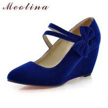 Meotina Ladies Pumps Pointed Toe Flock Mary Jane Hook&Loop Wedges Female Bow Beige Women Shoes  Plus Size 42 43 Elegant