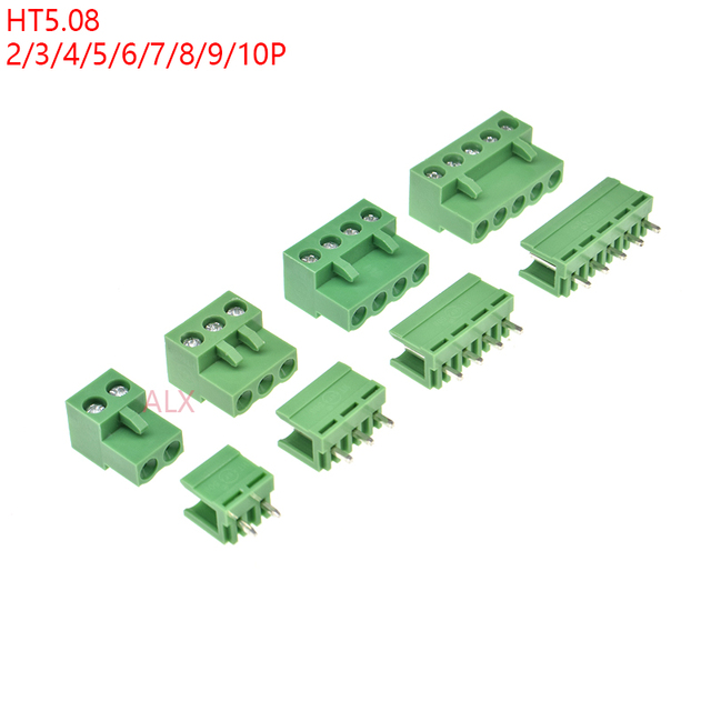 10SETS HT5.08 2/3/4/5/6/7/8/9 pin screw terminal block connector 5.08MM pitch PLUG + Straight PIN HEADER SOCKET for pcb 2p 3p 4p