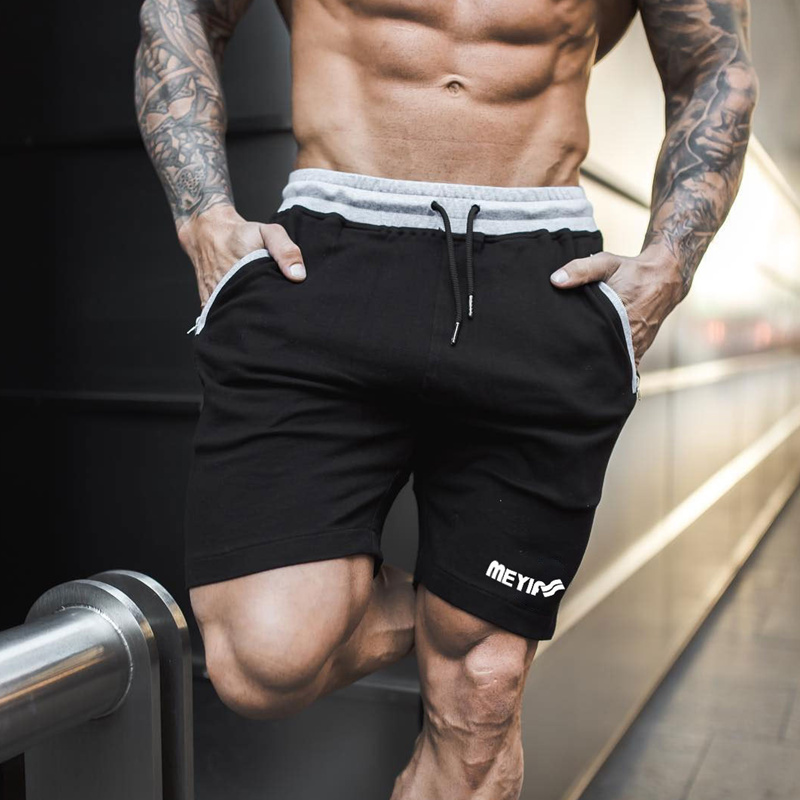 Mens cotton   shorts   2018 New Casual Fashion Gyms Fitness Bodybuilding   short   pants Male Jogger Knee Length Drawstring Sweatpants