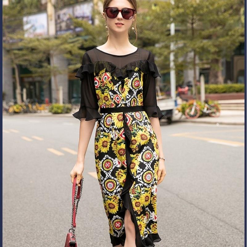 Print Floral Patchwork dress 2019 new High Street spring summer O Neck Mid Calf Dress Women