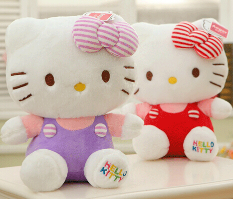 Plush doll 1pc 30cm princess hello kitty cat rainbow overalls bed decoration creative stuffed toy baby girl gift