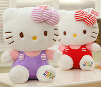 Plush Doll 1pc 30cm Princess Hello Kitty Cat Rainbow Overalls Bed Decoration Creative Stuffed Toy Baby