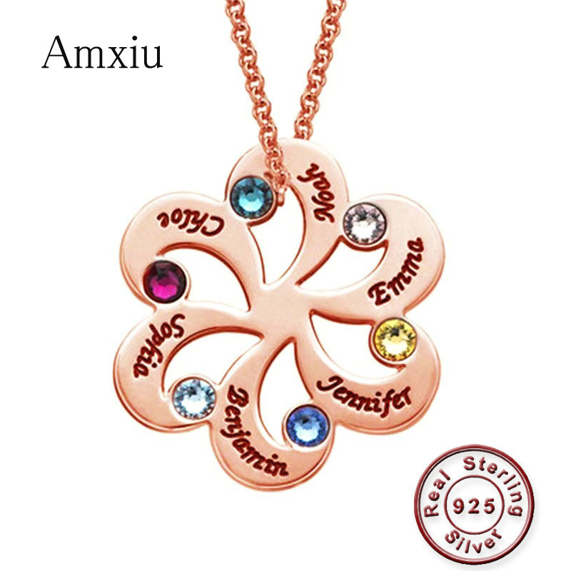 Amxiu Personalized Family Name Necklace Engrave Six Names 925 Sterling Silver Necklace with Birthstones Flower Pendant
