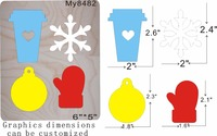 Cups and gloves and snowflakes wooden die Regola Acciaio Die Misura , my