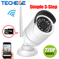 Techege 1280*720 p cámara ip wifi hd de 1.0mp wifi ranura para tarjeta tf cctv cámara de visión nocturna impermeable al aire libre cámara motion detección
