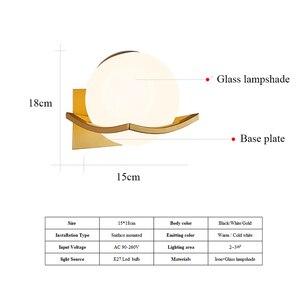 Image 5 - Moderne Glas Wand Lampe Mond Gold Schwarz Weiß Design Runde Indoor Nacht Lesen Lampe Montiert Nordic Holz Führte Wand Licht leuchte
