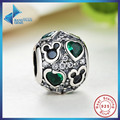 New Gift Charm Fit Original Bracelet Necklace 925 Sterling Silver Heart Beads Accessories Green Enamel Free Shipping
