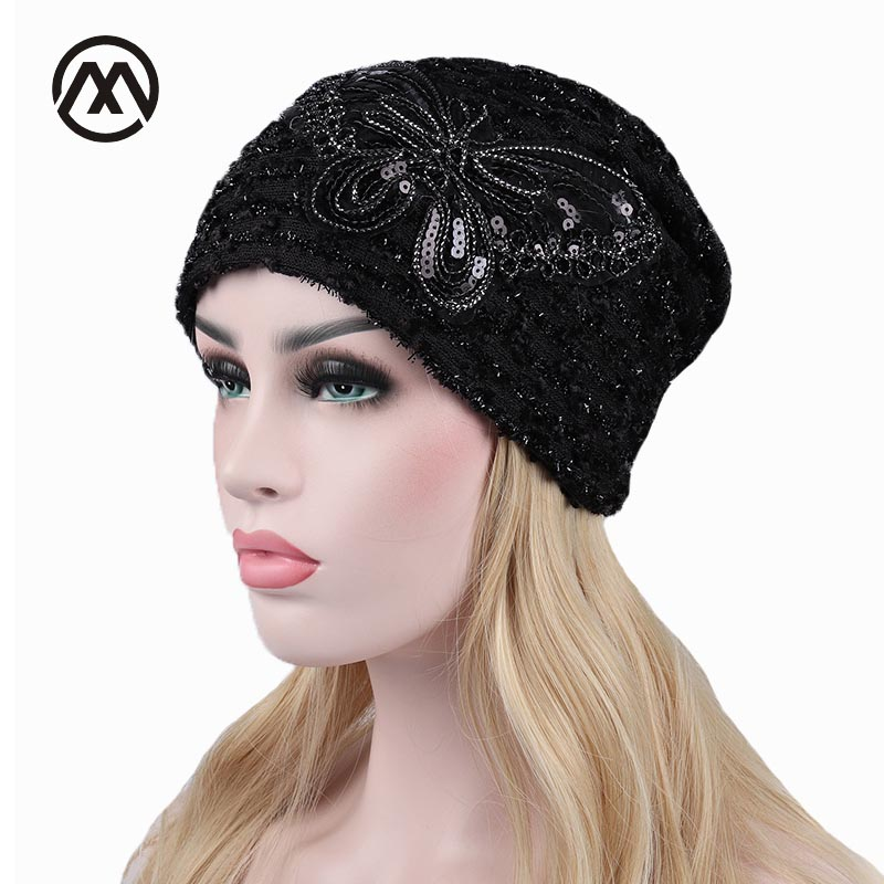 Butterfly Skullies Beanies Women Windproof Cap Hollow Lace Cuff Hedging Cap Double Layers Girl Hip Hop Beanie Lady Knit Bonnet skullies