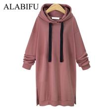 ALABIFU 2018 Autumn Winter Long Sweatshirt Women Casual Split Long Sleeve Sweatshirt Loose Pullover Hoody Sweatshirt Coat BTS