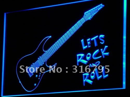 i796 Guitar Lets Rock n Roll Music LED Neon Light Sign On/Off Switch 20+ Colors 5 Sizes