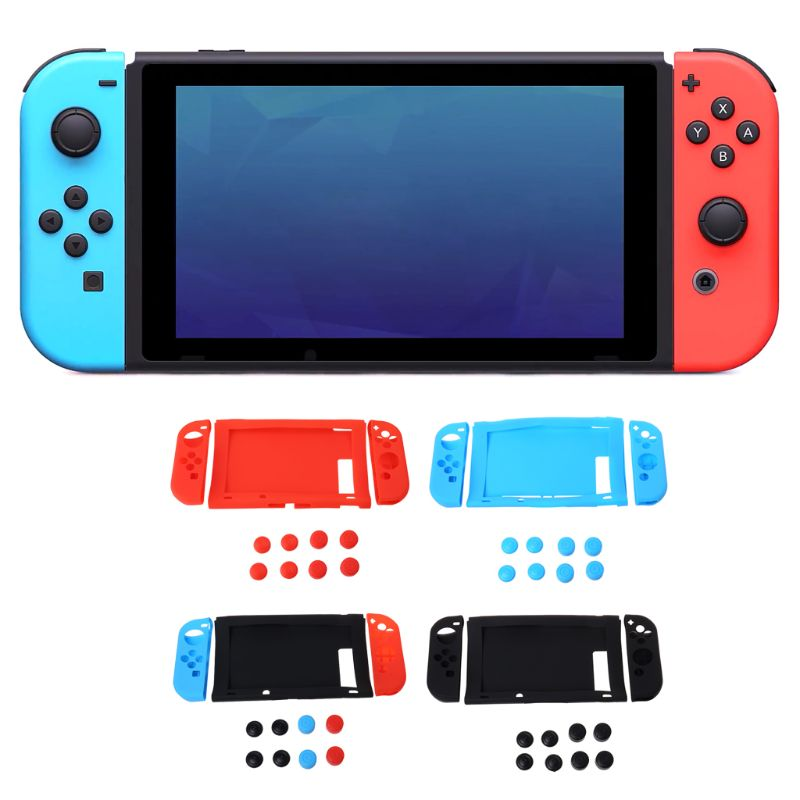 1 in 1 Protective Sink Cover Case Cap Set Soft Silicone Shockproof Anti-Wear Replacement for Nintendo Switch Console NS Joy-Co