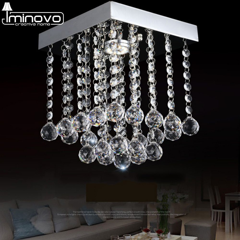 IMINOVO Pendent Lamp Ceiling Chandelier Lights G4Modern K9 Crystal LED Square Modern Chrome Living Room Loft Decor ceiling lamp photography backdrops 6 5 5ft 200 150cm fondos estudio fotografico vase curtain windows fundos fotograficos