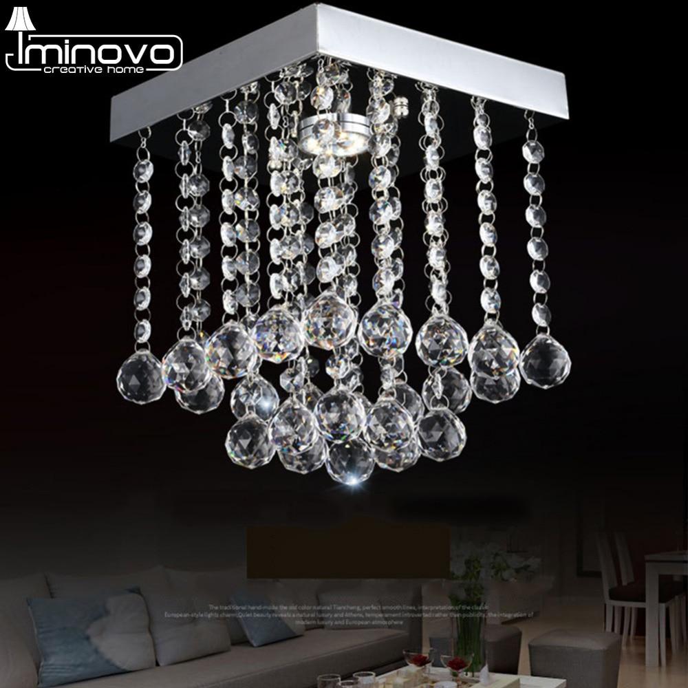 IMINOVO Pendent Lamp Ceiling Chandelier Lights G4Modern K9 Crystal LED Square Modern Chrome Living Room Loft Decor ceiling lamp встраиваемый светильник donolux dl066 79 1 crystal