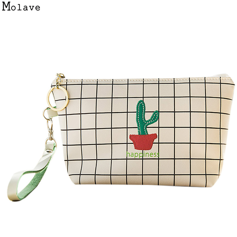 New Vintage Cactus Printed Cosmetic Bag Women Opuntia Makeup Bags Female Zipper Cosmetics Bag Portable Travel Make Up Pouch OC13 new arrival female zipper cosmetics bag large cosmetic bag women make up bags portable travel make up pouch