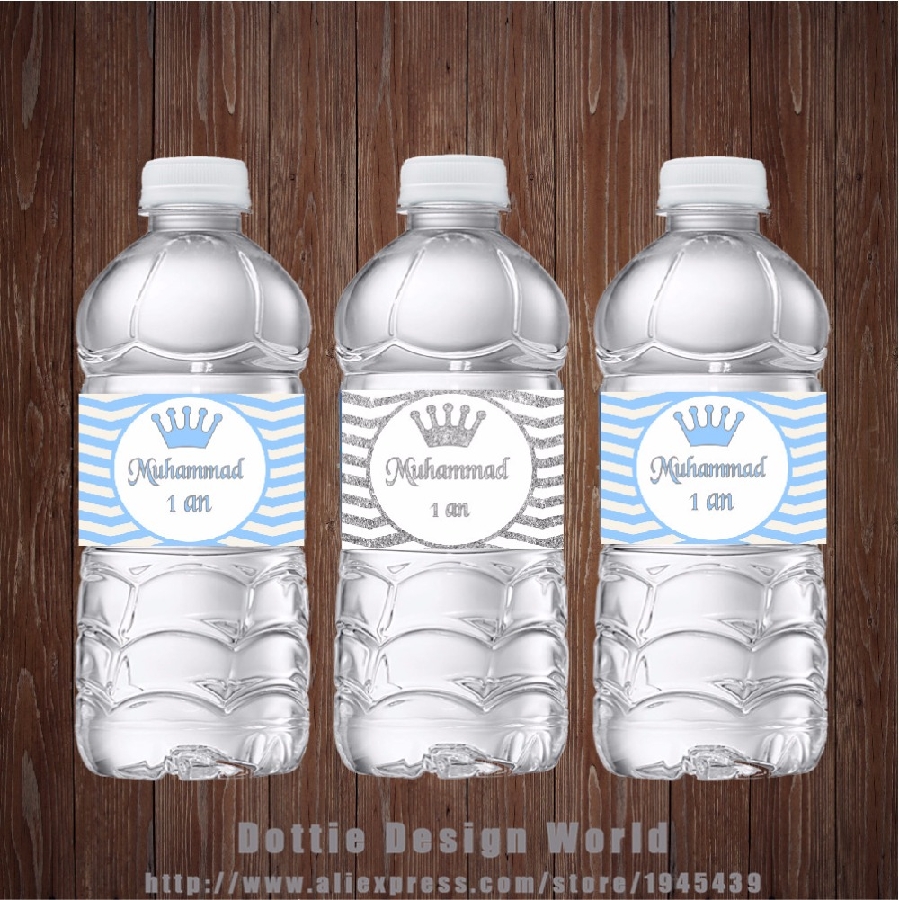 20 pcs/lot Silver Blue Chevron Birthday Water Bottle Labels Wine Champagne Label Candy Bar wrapper Baby shower party decoration