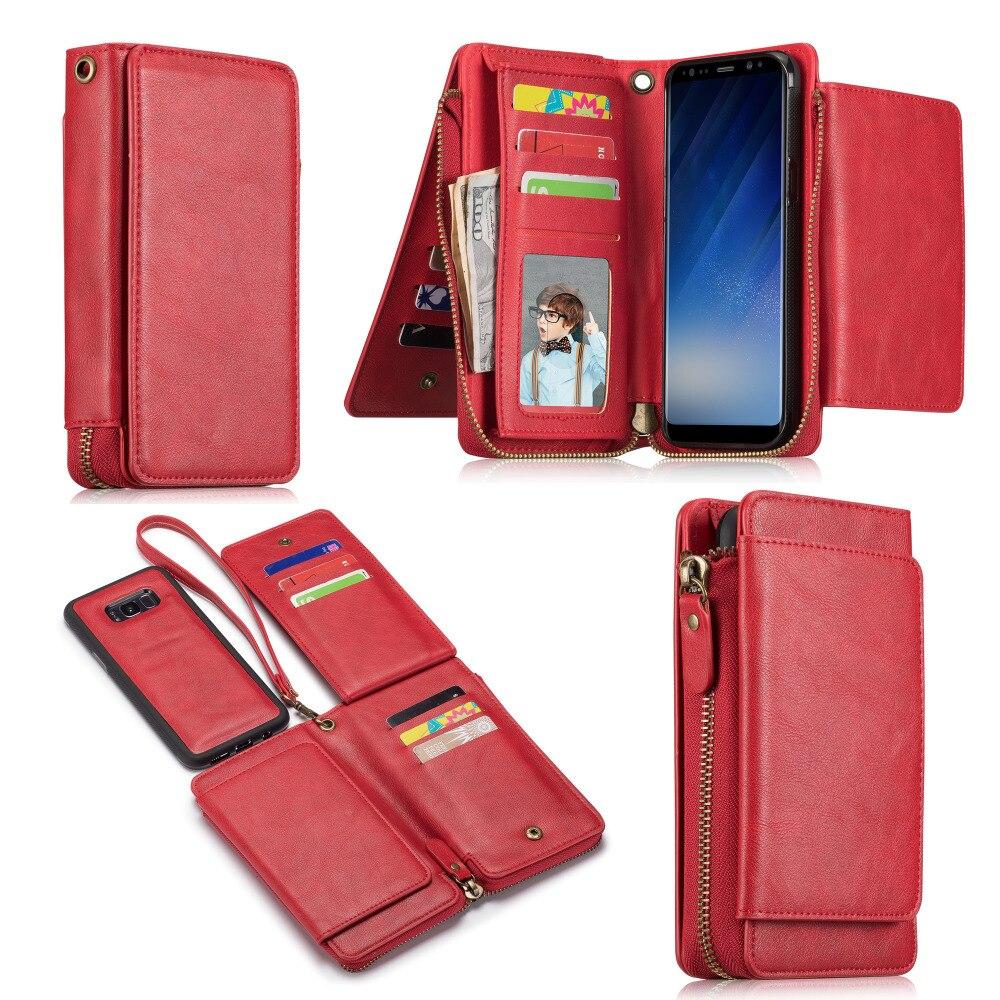 Роскошные Съемная Сумочка кожаный кейс на молнии для Samsung Galaxy Note 8 Винтаж Многофункциональный задняя крышка Wallet чехол телефона