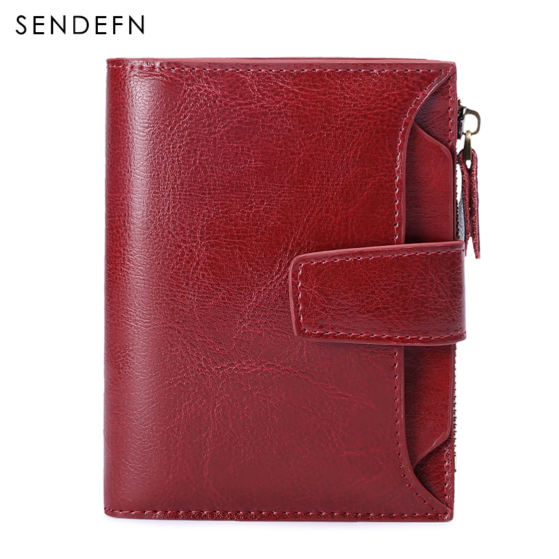 Sendefn New Brand Wallet Women Bifold Oil Wax Quality Wallet Brand Women Zipper And Button Short Style Womens Purse For Rfid
