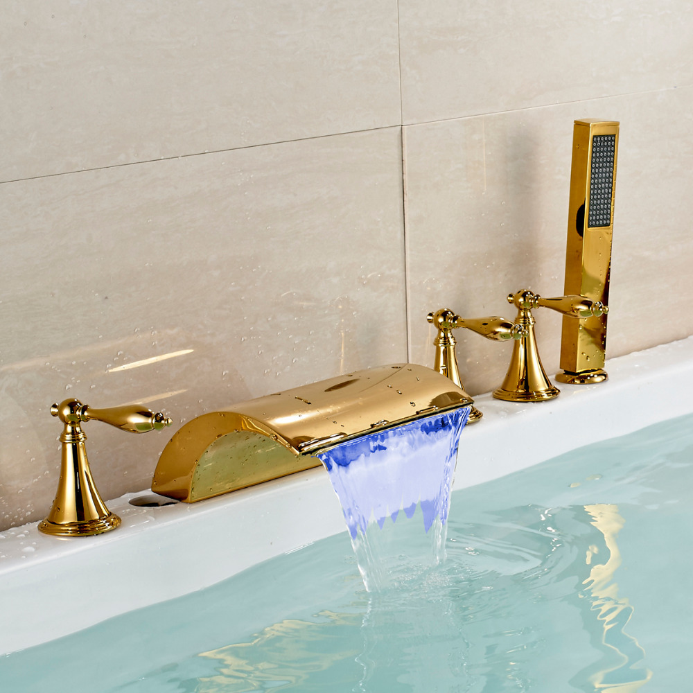 Gold Finish LED Waterfall Spout 5pcs Tub Filler Faucet with Handheld Shower