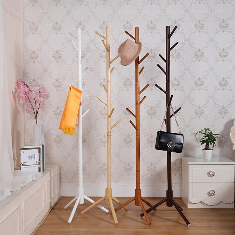 Simple Solid Wood Floor Standing Coat Rack Living Room Bedroom Clothes Hanging Rack Coat Clothing Storage