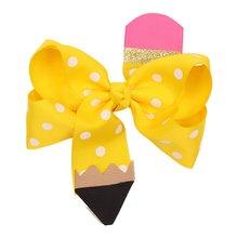 Fashion 4.5 Inch Back To School Pencil Print Hair Bows for Girls Hair Clips Cute Dot Bowknot Hairgrips Kids Hair Accessories