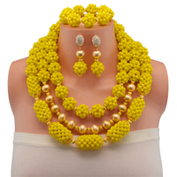 Yellow Nigerian Wedding African Beads Jewelry Sets Gold Color Crystal Necklace Set Of Beads Celebrity Turkish Copper Jewelry Set