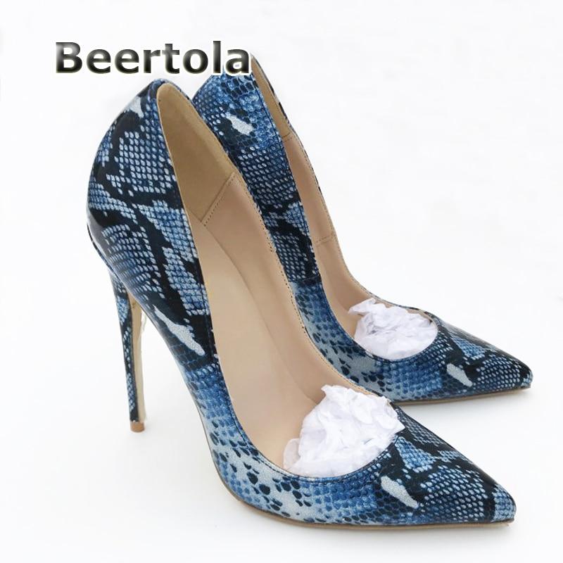 Hauts Beertola 10cm De Peau La Profonde Sexy Peu Taille Serpent Femmes Heels Bleu Pointu Chaussures Mince Talons Pompes Haute Bout Plus wBgwqFC