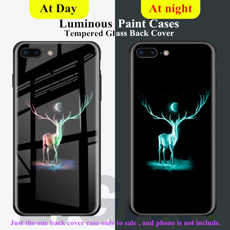 Tempered Glass Luminous Pattern Back Cover for iphone 6 6S 7 8 Plus X Cases Phone